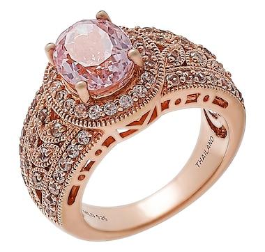 Sterling Silver 14K Rose Gold Plate Kunzite & White Zircon Accent Ring