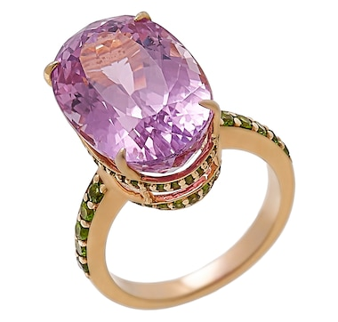 Sterling Silver 14K Yellow Gold Plate Kunzite & Chrome Diopside Ring