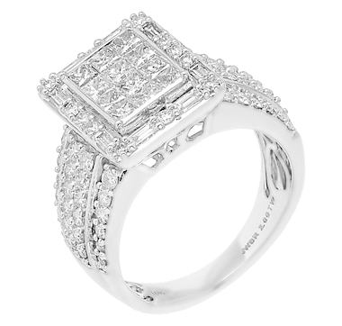 10K White Gold 2.00ctw Diamond Square Ring