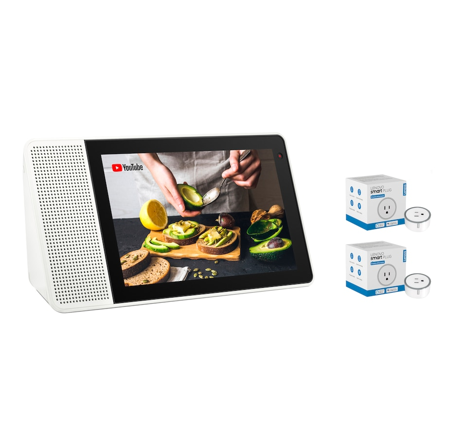 "Image 251034.jpg , Product 251-034 / Price $339.97 , Lenovo Smart Display 8"" with Google Assistant and 2-Pack Smart Plugs from Lenovo on TSC.ca's Electronics department"