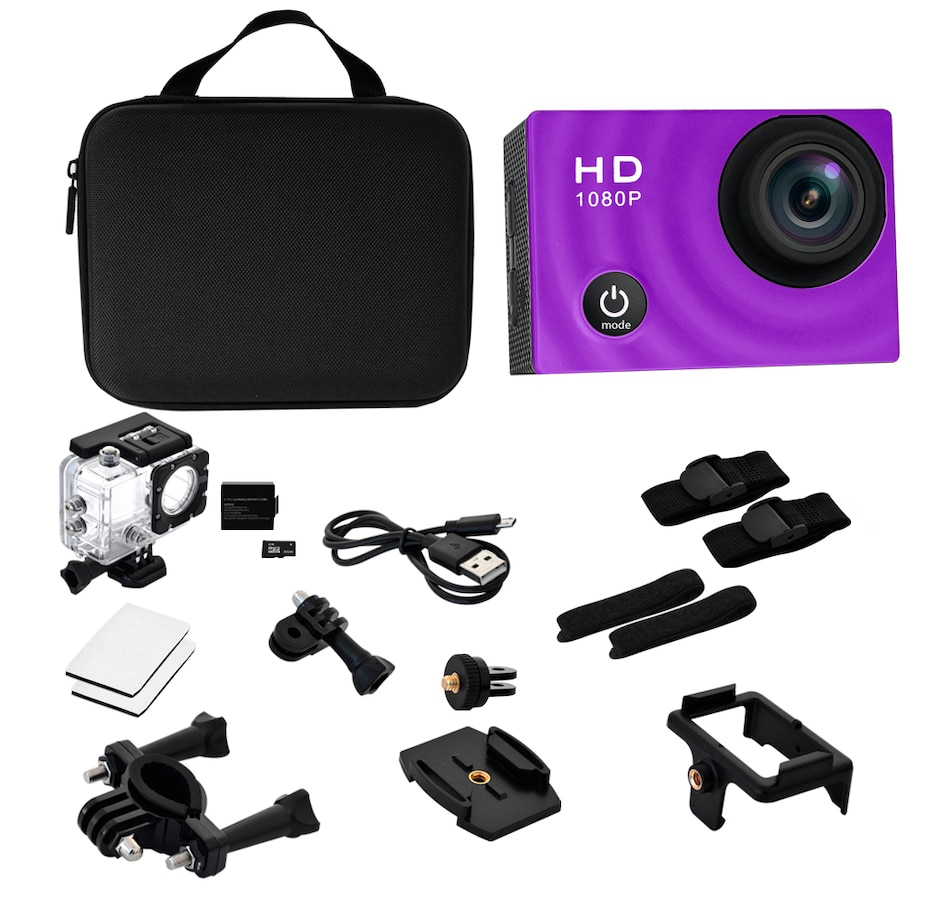 Image 251042_PUR.jpg , Product 251-042 / Price $59.99 , Pro Reel 1080p Action Camera with Case and Accessories  on TSC.ca's Electronics department