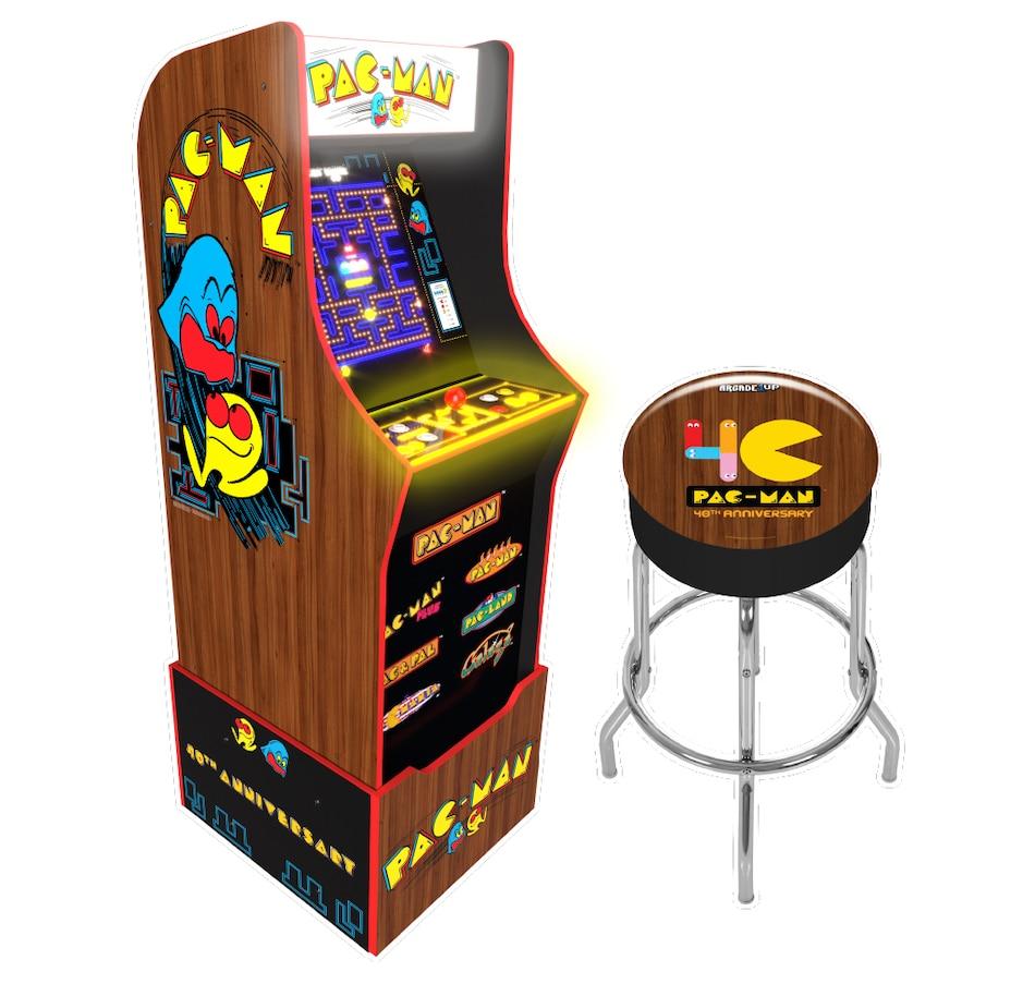 Image 251254.jpg , Product 251-254 / Price $669.99 , Arcade1Up 40th Edition Pac-Man Bundle with Lit Marquee and Stool from Arcade1Up on TSC.ca's Coins & Hobbies department