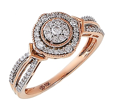 Jewel of a Deal 10K Rose Gold White Diamond Ring