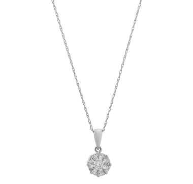 Jewel of a Deal 14K White Gold Diamond Solitaire Drop Pendant with Chain