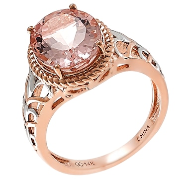 Jewel of a Deal 14K Rose Gold Oval Shape Morganite Ring