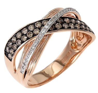Jewel of a Deal 14K Rose Gold Diamond and Champagne Diamond Ring