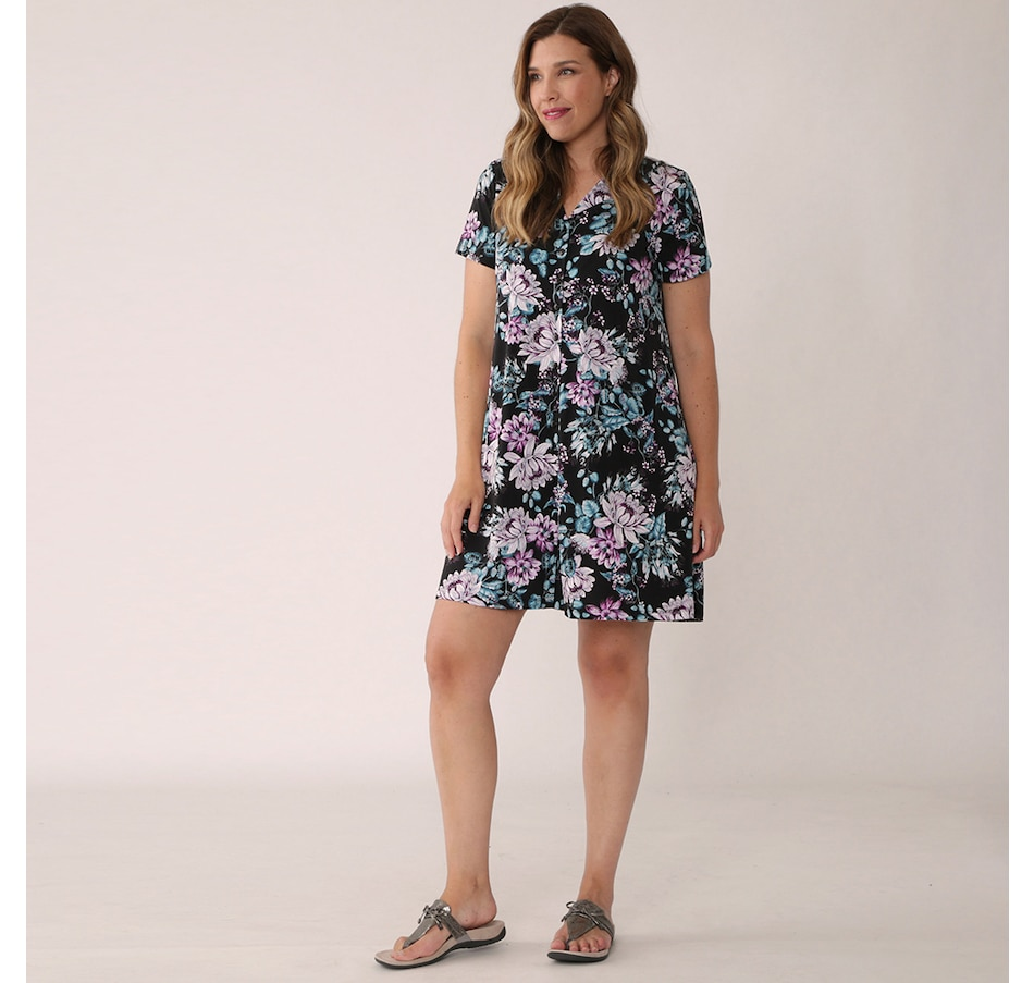 Image 349969_BCF.jpg , Product 349-969 / Price $59.88 , Kim & Co. Brazil Knit Short Sleeve Button Front Dress from Kim & Co. on TSC.ca's Clothing & Shoes department