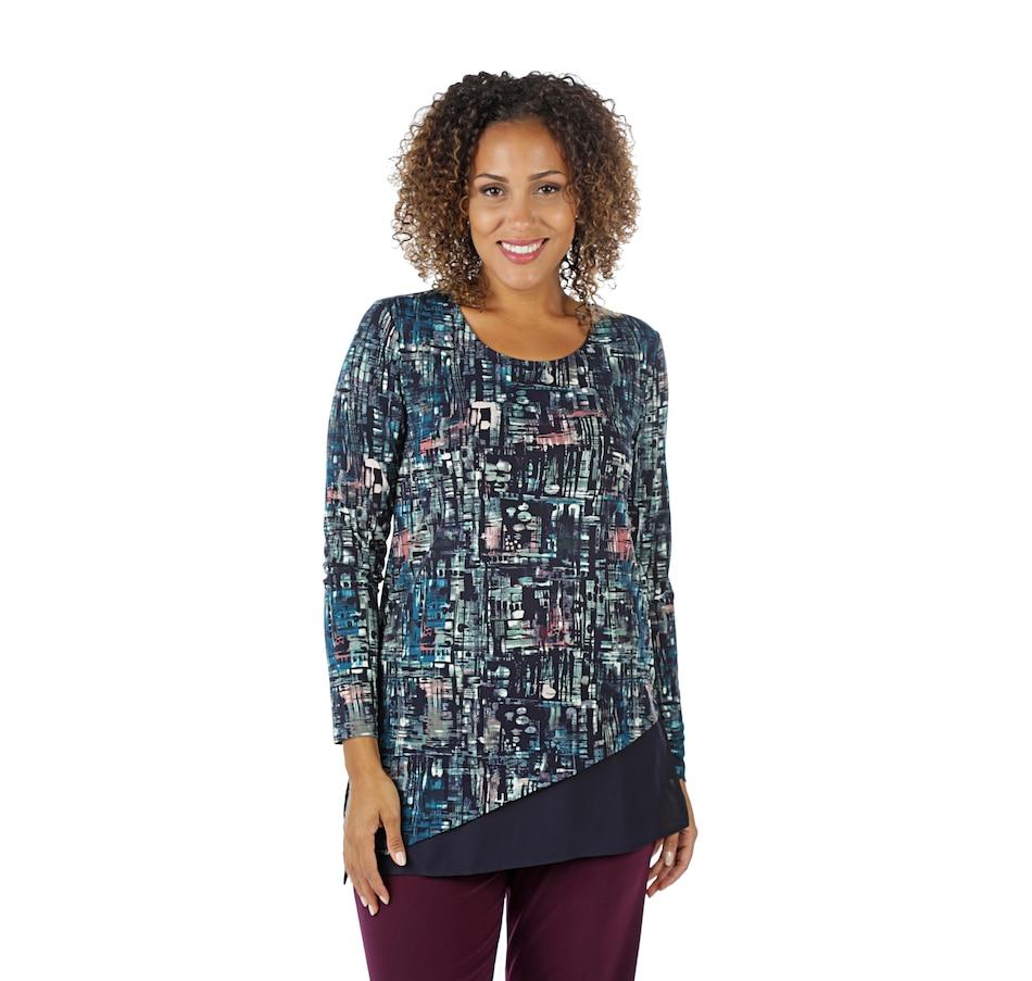 Image 401376_NAVYO.jpg , Product 401-376 / Price $15.33 , Nina Leonard Scoop Neck Long Sleeve Printed MJ Angled Hem Tunic from Nina Leonard on TSC.ca's Fashion department
