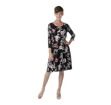 Nina Leonard 3/4 Sleeve Trapeze Dress in Foiled Printed Mesh