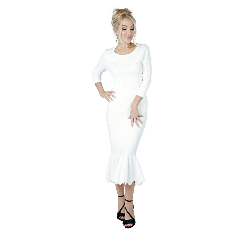 Image 402037_IVR.jpg , Product 402-037 / Price $69.88 , Brian Bailey 3/4 Sleeve Pearl Sweater from Brian Bailey Fashions on TSC.ca's Fashion department