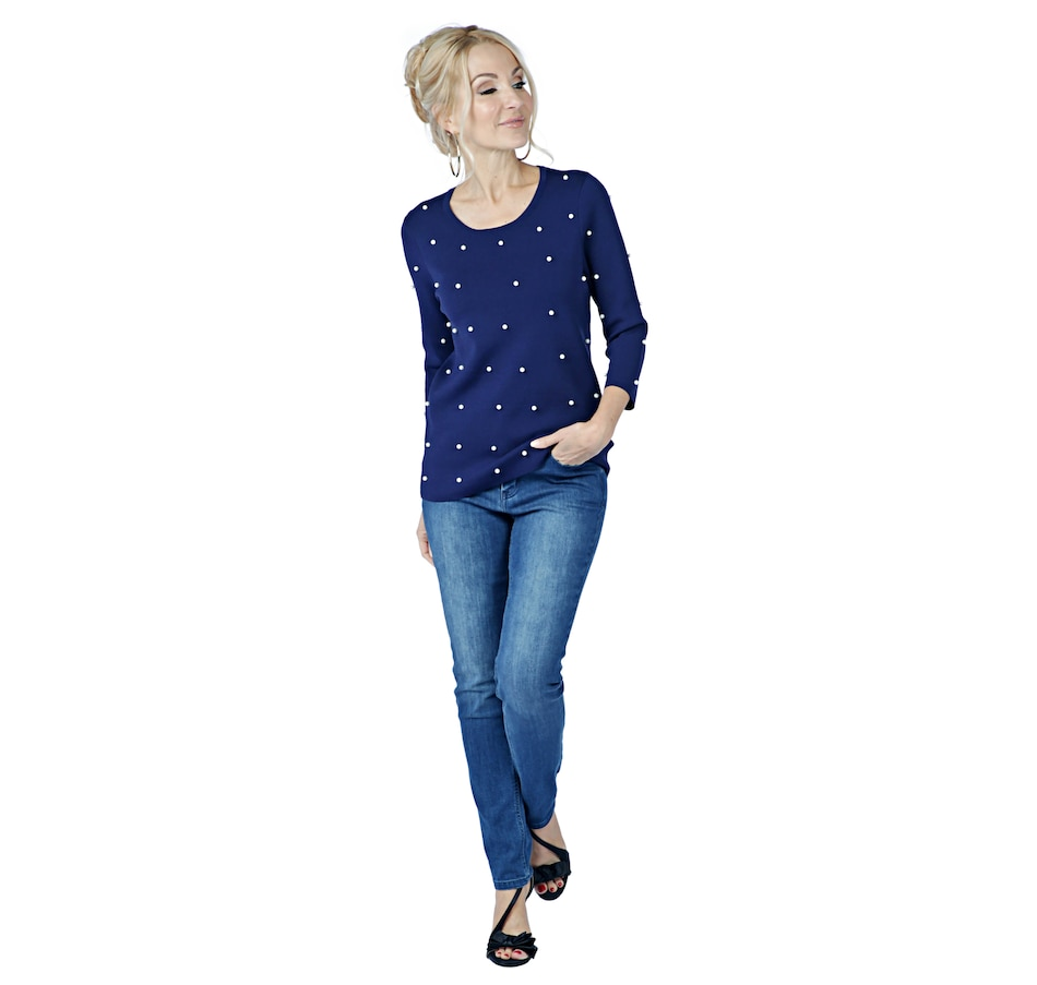 Image 402037_NVY.jpg , Product 402-037 / Price $110.00 , Brian Bailey 3/4 Sleeve Pearl Sweater from Brian Bailey Fashions on TSC.ca's Fashion department