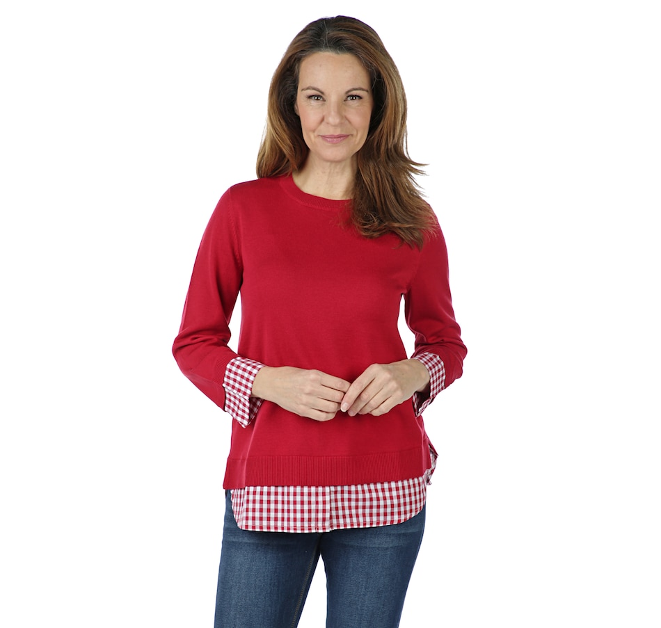 Image 402158_RED.jpg , Product 402-158 / Price $39.33 , Joan Rivers Classics Collection 3/4 Sleeve Gingham Peekaboo Sweater from Joan Rivers Fashion on TSC.ca's Fashion department