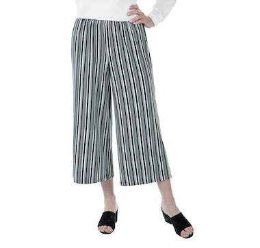 6b0c6b08077 Joan Rivers Classics Collection Pull-On Str…iped Cropped Pants