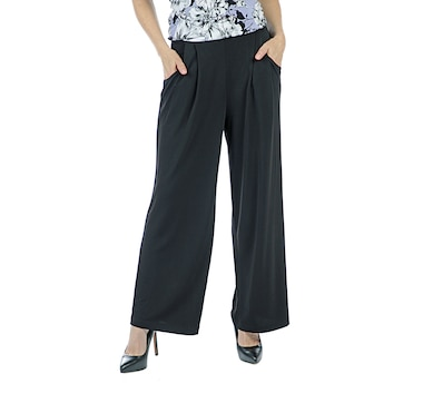 a5af4b500a5 Nina Leonard Elastic Waist Stretch Crepe …Pleat Front Pant with Pockets