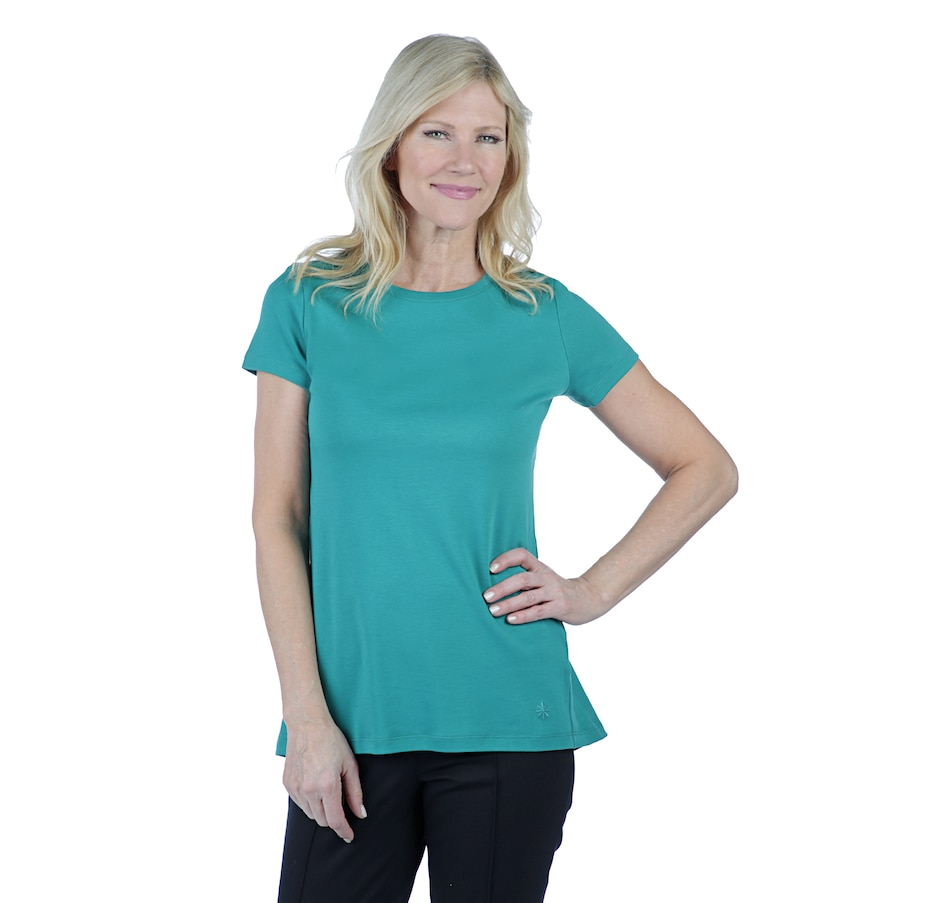 Image 402420_MMGRN.jpg , Product 402-420 / Price $21.33 , Isaac Mizrahi Live! Essentials Silky Pima Swingy Contrast Hem Top from Isaac Mizrahi Fashion on TSC.ca's Fashion department
