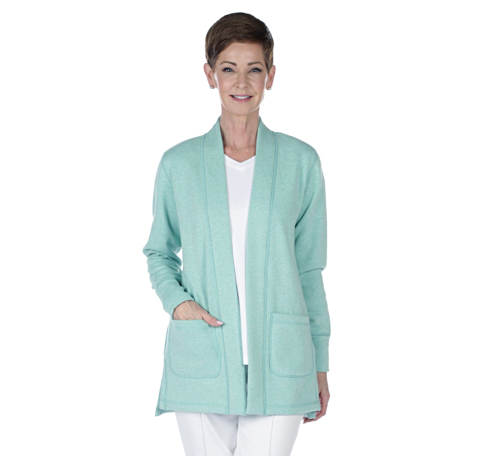 Image 402423_HTJAD.jpg , Product 402-423 / Price $29.33 , Isaac Mizrahi Live! Soho Long Sleeve Open Front Jacket from Isaac Mizrahi Fashion on TSC.ca's Fashion department