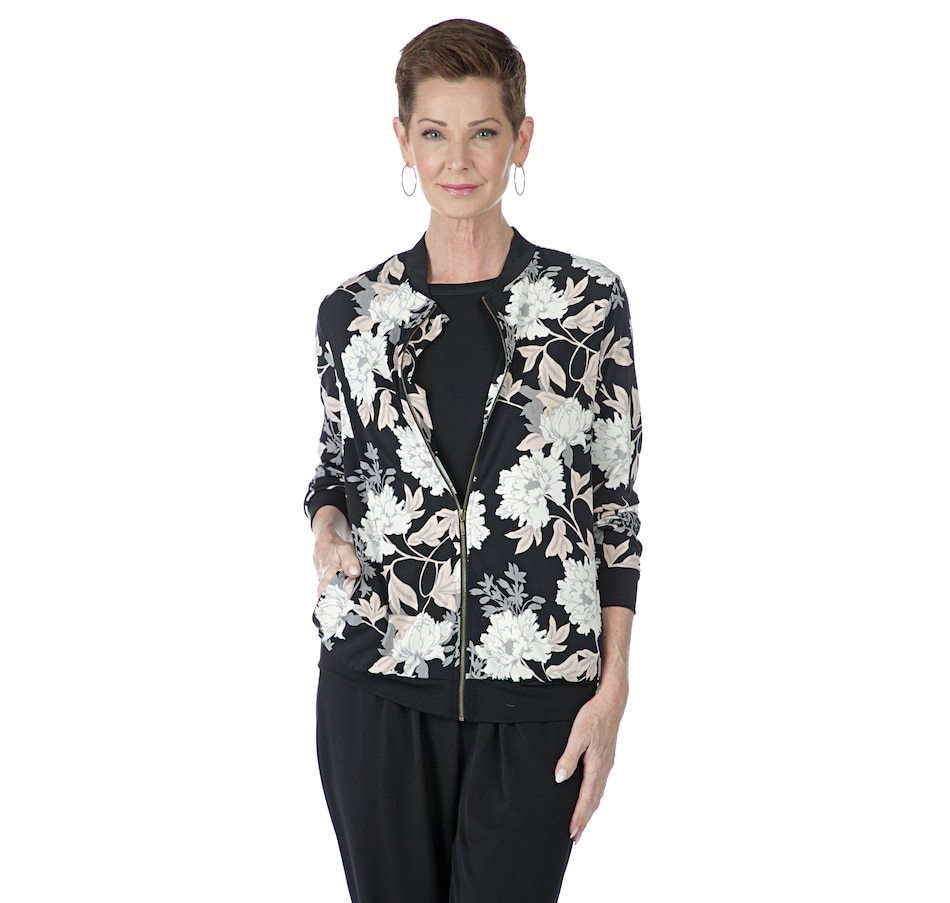Image 402449_BKF.jpg , Product 402-449 / Price $69.90 , Kim & Co. Brazil Knit Bomber Jacket with Pockets from Kim & Co. on TSC.ca's Fashion department