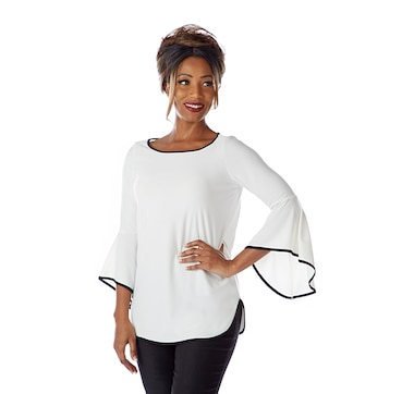 Mr. Max Brazil Knit Angel Sleeve Top with Contrast Detail