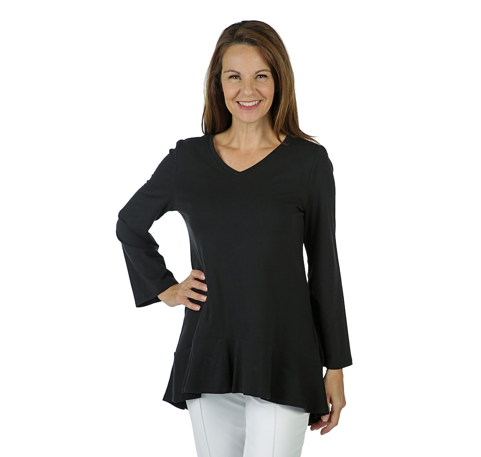 Image 402693_JTBK.jpg , Product 402-693 / Price $19.33 , Isaac Mizrahi Live! Rounded V-Neck Top with Ruffle Hem from Isaac Mizrahi Fashion on TSC.ca's Fashion department