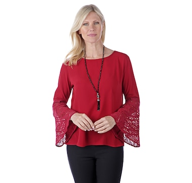 Artizan by Robin Barre Long Lace Embellished Sleeve with Solid Poppy Top