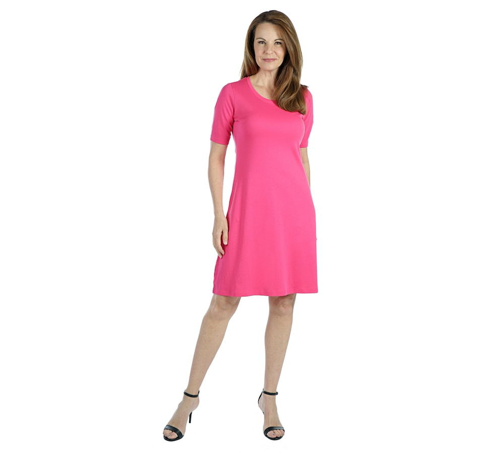 Image 403221_PNKRB.jpg , Product 403-221 / Price $34.88 , Isaac Mizrahi Live! Essentials Silky Pima Swingy Dress with Cascade Hem from Isaac Mizrahi Live! on TSC.ca's Fashion department
