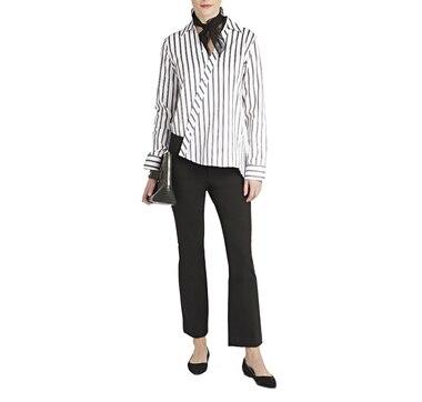 1c8a3073acc2e0 PINK TARTAN Striped Asymmetrical Shirt