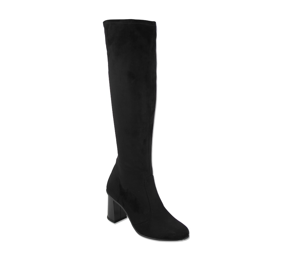 Image 405521_BLK.jpg , Product 405-521 / Price $179.33 , Rapisardi by Ron White Callaghan Suede Knee Boot with Woodgrain Gloss Heel
