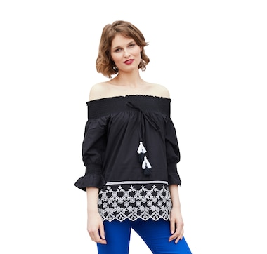 Artizan by Robin Barre Smocked Peasant Top with Embroidery and Tassels