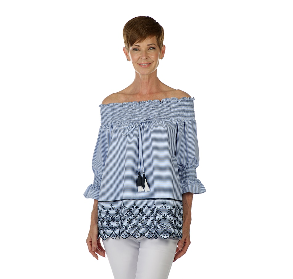 Image 405627_BSTR.jpg , Product 405-627 / Price $32.33 , Artizan by Robin Barre Smocked Peasant Top with Embroidery and Tassels from ARTIZAN by Robin Barré Fashion on TSC.ca's Fashion department