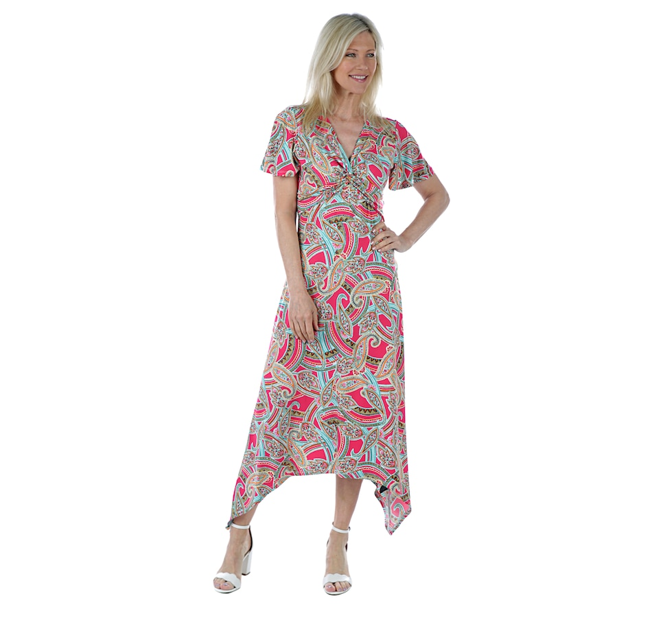 Image 405628_FUCPY.jpg , Product 405-628 / Price $39.33 , Artizan by Robin Barre Twist Front Maxi with Ruffle Sleeve from ARTIZAN by Robin Barré Fashion on TSC.ca's Fashion department