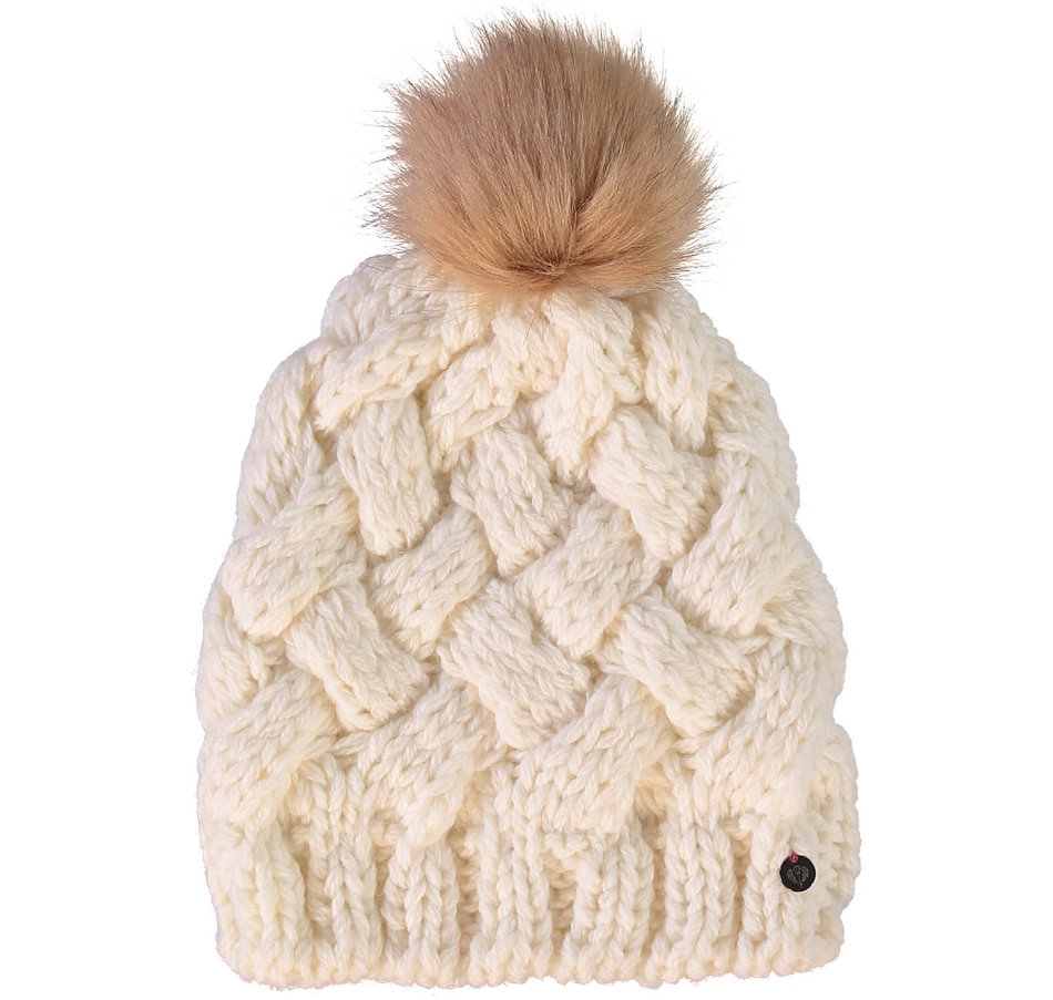 Image 405676_WHT.jpg , Product 405-676 / Price $34.88 , FRAAS Basket Weave Lined Hat Faux Pompom from FRAAS on TSC.ca's Fashion department