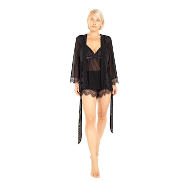 Rhonda Shear Up All Night Robe with Lace Trim