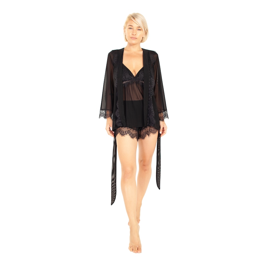 Image 405757_BLK.jpg , Product 405-757 / Price $29.33 , Rhonda Shear Up All Night Robe with Lace Trim from Rhonda Shear Shapewear on TSC.ca's Fashion department