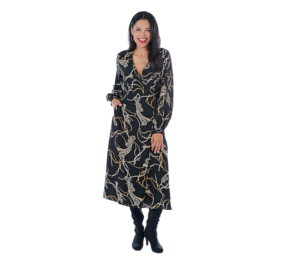 Image 405860_BKCA.jpg , Product 405-860 / Price $149.33 , Tracy Moore Designed by Freda's Long Sleeve Wrap Dress from Tracy Moore Designed by Freda's on TSC.ca's Fashion department