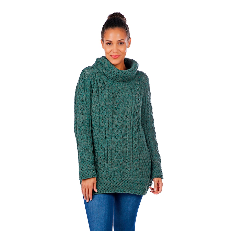 Image 405983_CONGN.jpg , Product 405-983 / Price $99.88 , Aran Woollen Mills Merino Cowl Neck Side Vent Cable Sweater from Aran Woollen Mills Fashion on TSC.ca's Fashion department