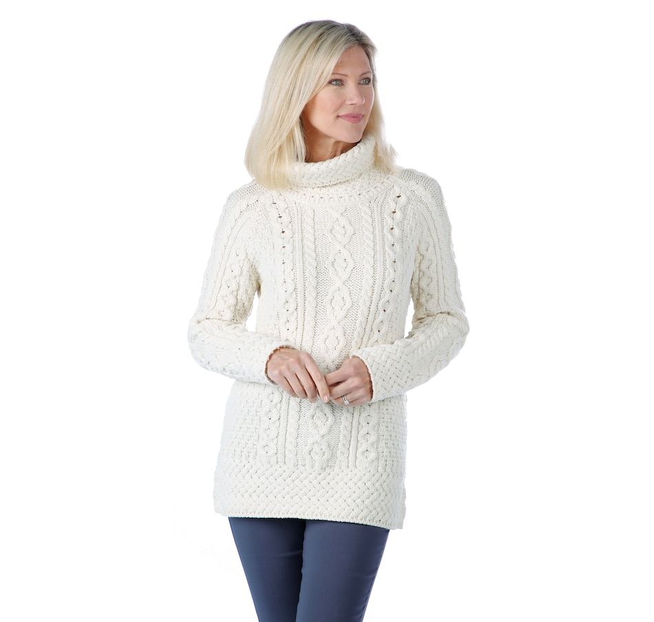 Image 405983_WHT.jpg , Product 405-983 / Price $99.88 , Aran Woollen Mills Merino Cowl Neck Side Vent Cable Sweater from Aran Woollen Mills Fashion on TSC.ca's Fashion department