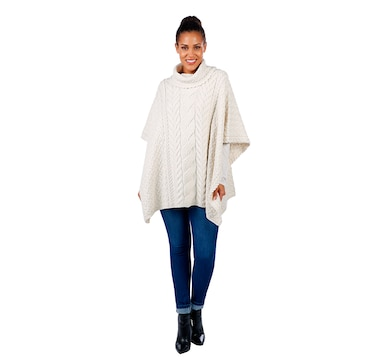 Aran Wollen Mills Supersoft Merino Cowl Neck Cable Poncho