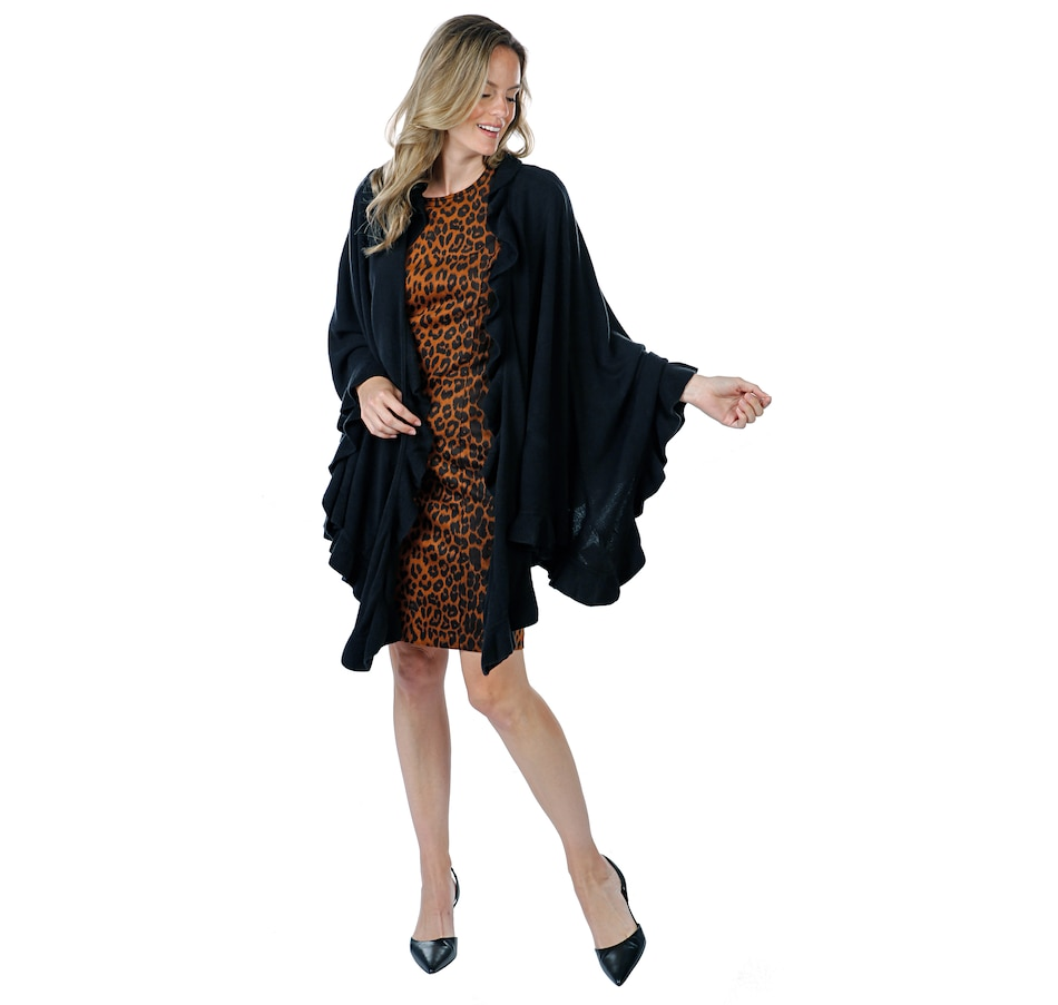 Image 406078_BLK.jpg , Product 406-078 / Price $109.90 , Guillaume Luxe Knit Wrap Cape with Ruffle Detail from Guillaume Fashions on TSC.ca's Fashion department