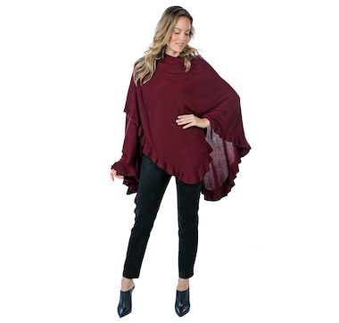 Guillaume Luxe Knit Wrap Cape with Ruffle Detail