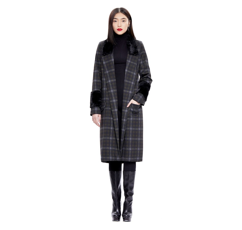 Image 406266_PLD.jpg , Product 406-266 / Price $114.33 , Hilary MacMillan Plaid and Faux Fur Coat from Hilary MacMillan on TSC.ca's Fashion department
