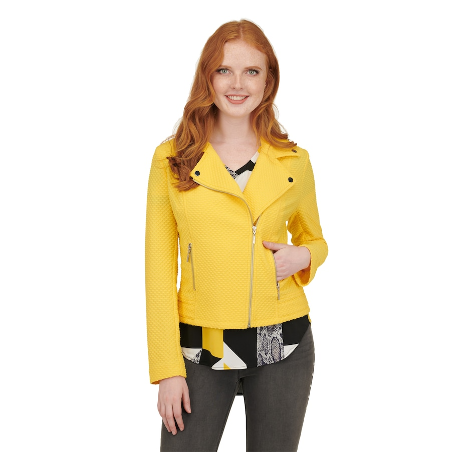 Image 406370_YEL.jpg , Product 406-370 / Price $89.00 , Nygard Textured Knit Moto Jacket from Nygard Slims Fashion on TSC.ca's Fashion department