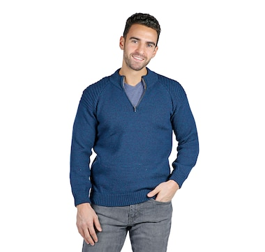 Aran Woollen Mills Men's Merino Zip Neck Sweater
