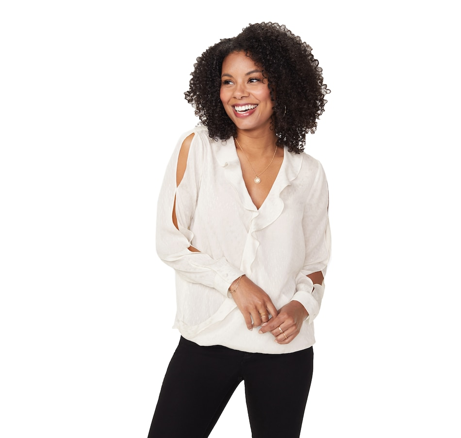 Image 406679_VAN.jpg , Product 406-679 / Price $104.88 , NYDJ Flounce Crossover Blouse from NYDJ on TSC.ca's Fashion department