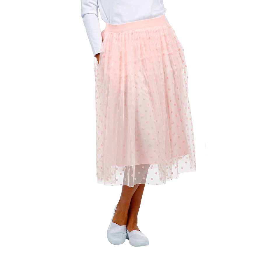 Image 407132_REWR.jpg , Product 407-132 / Price $79.99 , Isaac Mizrahi Live! Shirred Flocked Velvet Dot Tulle Skirt from Isaac Mizrahi Live! on TSC.ca's Fashion department