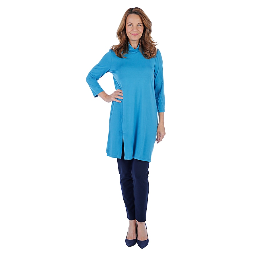 Image 407201_BLU.jpg , Product 407-201 / Price $54.99 , Mr. Max Mock Neck Tunic with Slit Detail from Mr. Max on TSC.ca's Fashion department