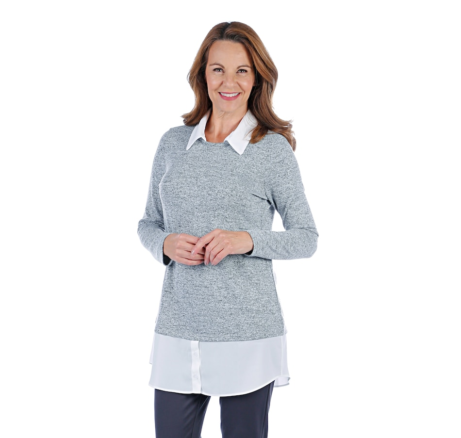 Image 407203_GRY.jpg , Product 407-203 / Price $59.99 , Mr. Max Monet Knit Fooler Two In One Top from Mr. Max on TSC.ca's Fashion department
