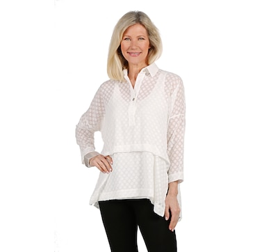 WynneLayers Chiffon Dot Jacquard Top