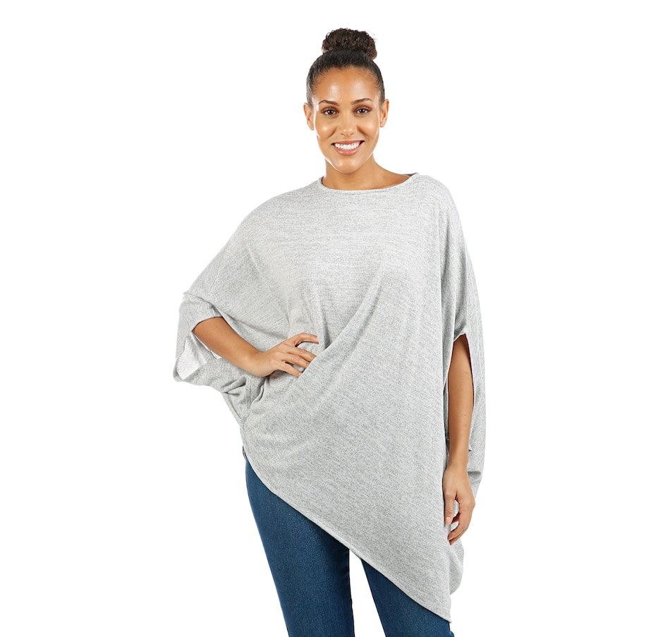 Image 407965_HGY.jpg , Product 407-965 / Price $59.90 , Diane Gilman Brushed Poly Asymmetric Poncho Twist Front Top from DG2 by Diane Gilman on TSC.ca's Fashion department