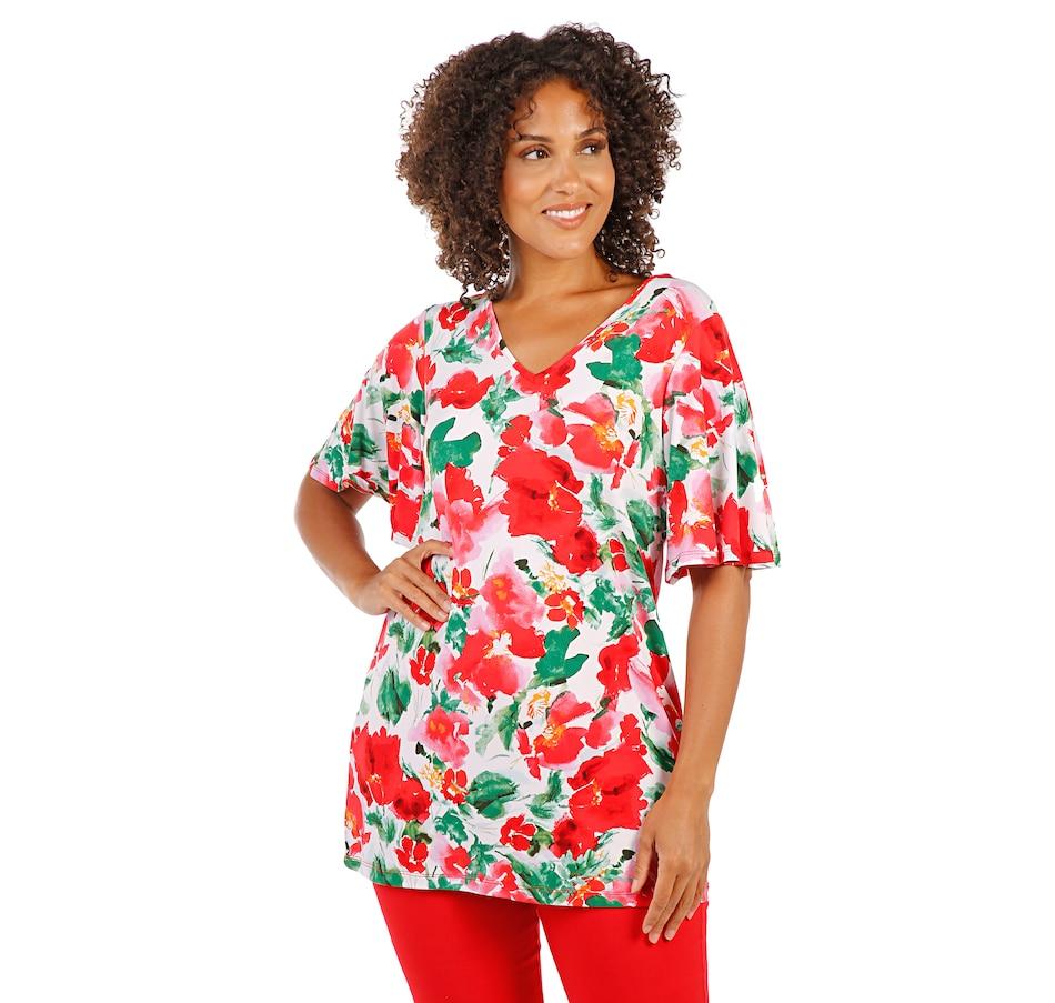 Image 408540_MLTFL.jpg , Product 408-540 / Price $19.33 , Nina Leonard Flutter Sleeve Lace Back Tunic from Nina Leonard on TSC.ca's Clothing & Shoes department