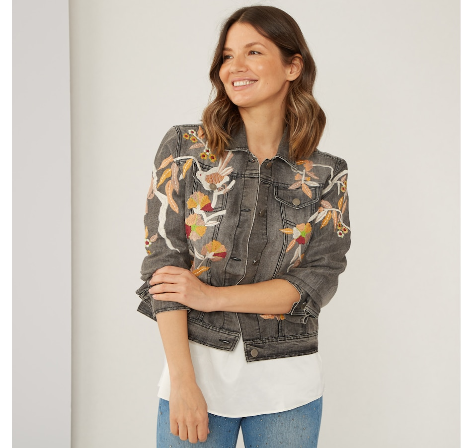 Image 409067_BLCKW.jpg , Product 409-067 / Price $99.88 , Celestial Blue Embroidered Denim Jacket from Celestial Blue on TSC.ca's Clothing & Shoes department